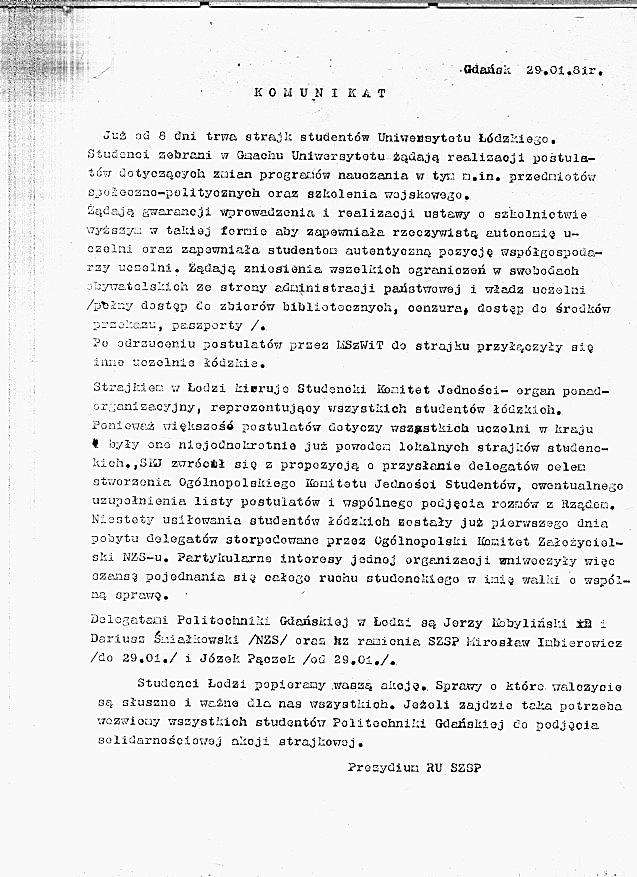 Komunikat SZSP
