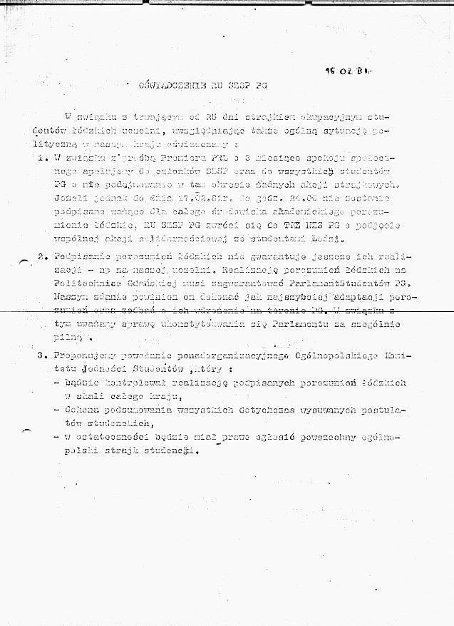Oświadczenie SZSP